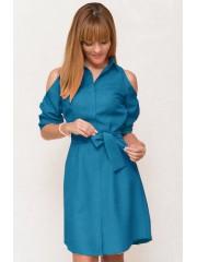 00527 Платье-рубашка  с открытыми плечами бирюзовое