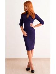 00533 Платье с вырезом баклажан из костюмной ткани Анжелика