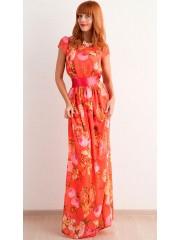 00282 Платье из французского шифона с принтом в виде сов.