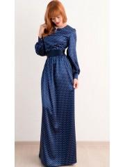 00283 Платье из атласа темно-синее