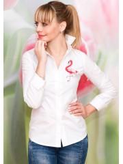 00562 Рубашка из хлопка белая с аппликацией Фламинго