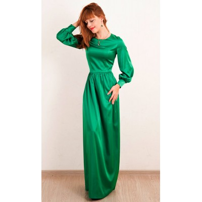 00287 Платье из атласа изумрудное