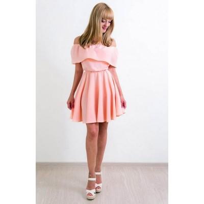 00148 Платье персик с баской