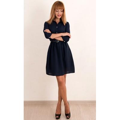 00375 Платье из крепа темно-синее с ремешком