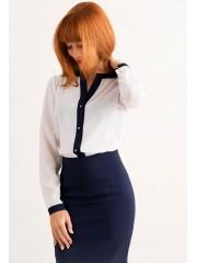 00269 Блузка белая с синей планкой