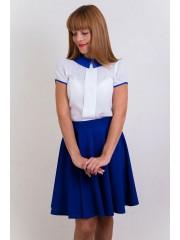 00228 Блузка с синим воротом из шифона