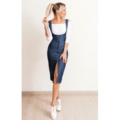 00701 Сарафан из джинсы синий