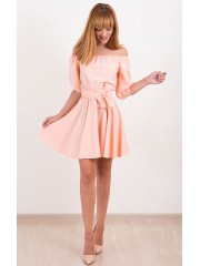 00488 Платье спущенное плечико персик