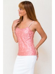 00490 Майка розовая из гипюра и атласа