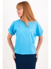 00477 Блузка из креп-шифона голубая