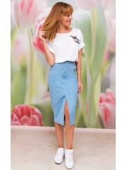 00498 Юбка джинсовая голубая