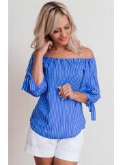 00610 Блуза из штапеля голубая в полоску