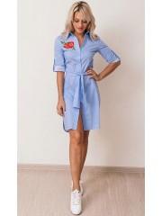 00619 Платье-рубашка из хлопка полосатое с апликацией