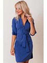 00620 Платье-рубашка из костюмной ткани синее