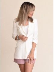 00726 Пиджак на подкладе белый из костюмной ткани