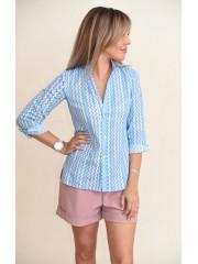 00707 Рубашка из хлопка голубая с принтом