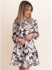 00740 Платье из костюмной ткани с поясом мультиколор