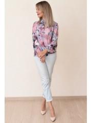 00724 Блузка из вискозы розовая с принтом 3Д