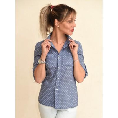 00712 Рубашка из легкой джинсы синяя
