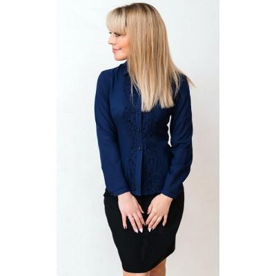 00566 Рубашка из крепа темно-синяя с кружевом