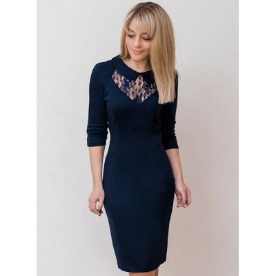 00568 Платье из лакосты темно-синее с кружевом