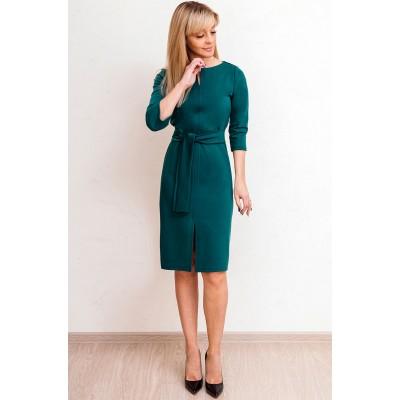 00578 Платье из лакосты зеленое с поясом