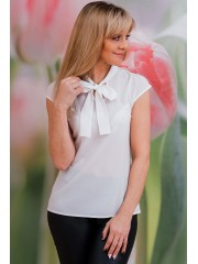 00564 Блуза из крепа белая с бантом