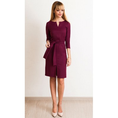 00579 Платье из лакосты бордовое с поясом