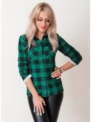 00671 Рубашка в клетку темно-зеленая фланель