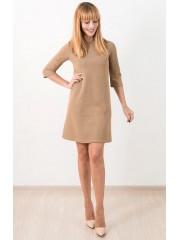 00665 Платье из фактурного трикотажа песочное