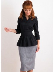 00459 Блуза из хлопка черная с поясом
