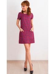 00470 Платье красное в клетку с карманами
