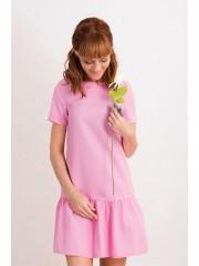 00463 Платье розовое с воланом