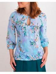 00461 Блузка из вискозы небесно-голубая с цветами