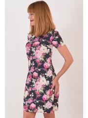 00341 Платье из цветной джинсы прямое с карманами