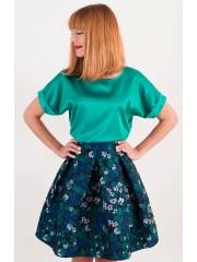 00347 Блуза атласная изумрудная