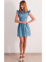 00349 Платье джинсовое легкое с ромашками