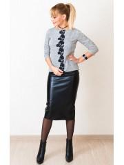 00550 Блуза серый меланж с черным кружевом