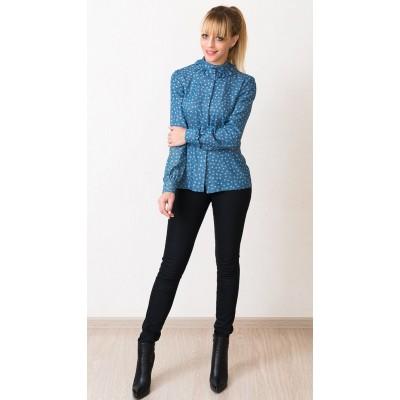 00548 Рубашка джинсовая голубая в мелкий цветок
