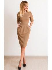 00556 Платье из фактурного трикотажа песочное