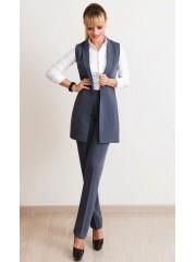 00541 Жилет из костюмной ткани Анжелика серый на подкладе