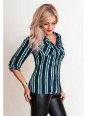 00648 Рубашка полосатая зеленая из штапеля