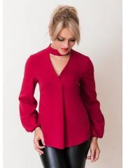 00637 Блуза из крепа бордовая