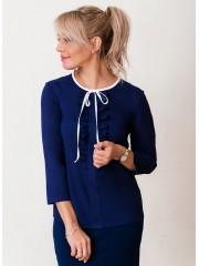 00639 Блуза из крепа синяя с рюшами