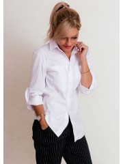 00647 Рубашка белая с карманами из хлопка