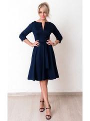00645 Платье из Лакосты с молнией темно-синее