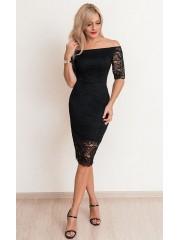 00655 Платье черное кружевное