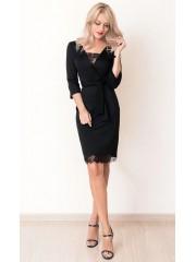 00652 Платье черное из Лакосты с кружевом