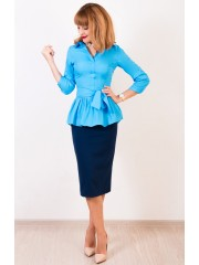 00416 Блузка голубая с баской