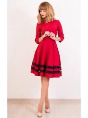 00409 Платье красное с черным кружевом